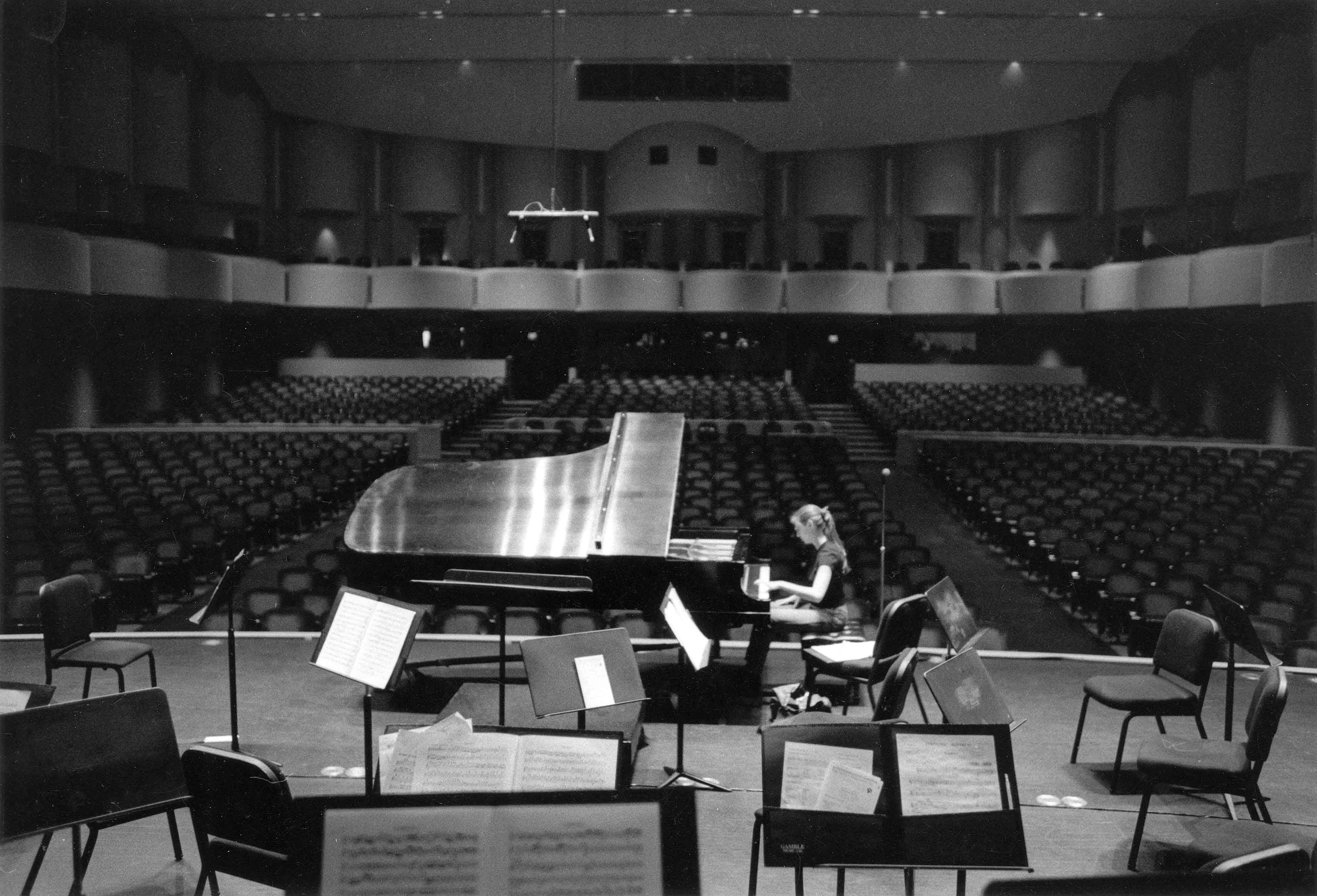 Practicing in the concert Hall